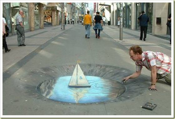 3d Chalk Sail Boat Street Art Illusions Sidewalk Art 3d Sidewalk Art