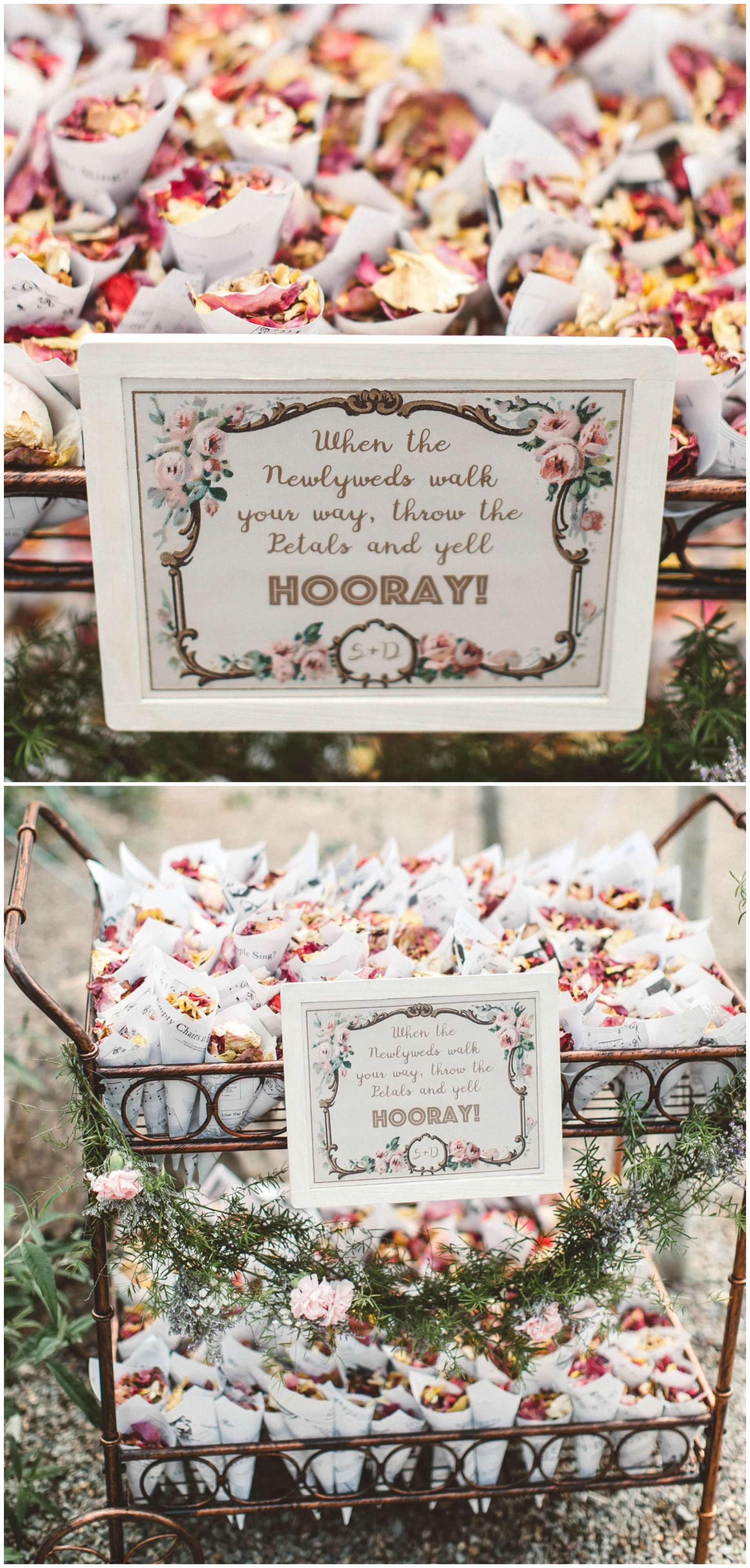 Petal toss, ceremony ideas, exit ideas, vintage iron cart
