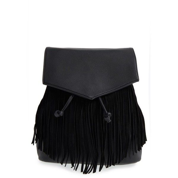 Fringe Flap Faux Leather Backpack