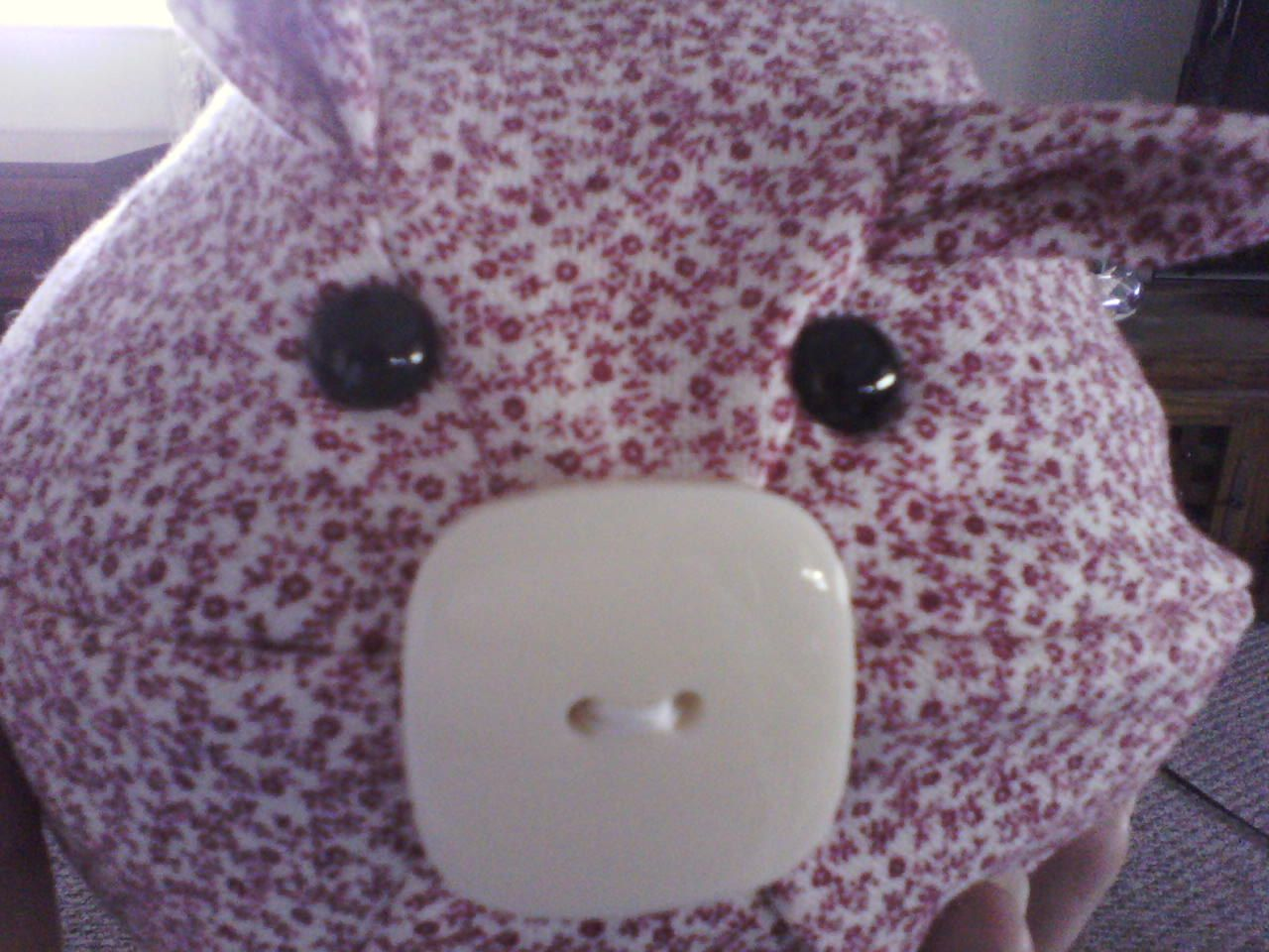 Terri's adorable round piggy, made with a pattern from the book Creature Camp