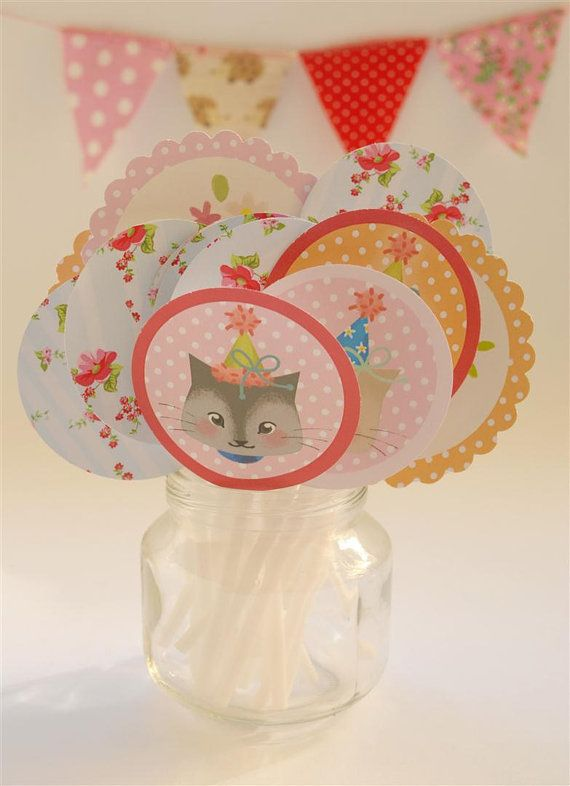 Cupcake Toppers Kittens Party Set Of 26 By Thalitadol On Etsy