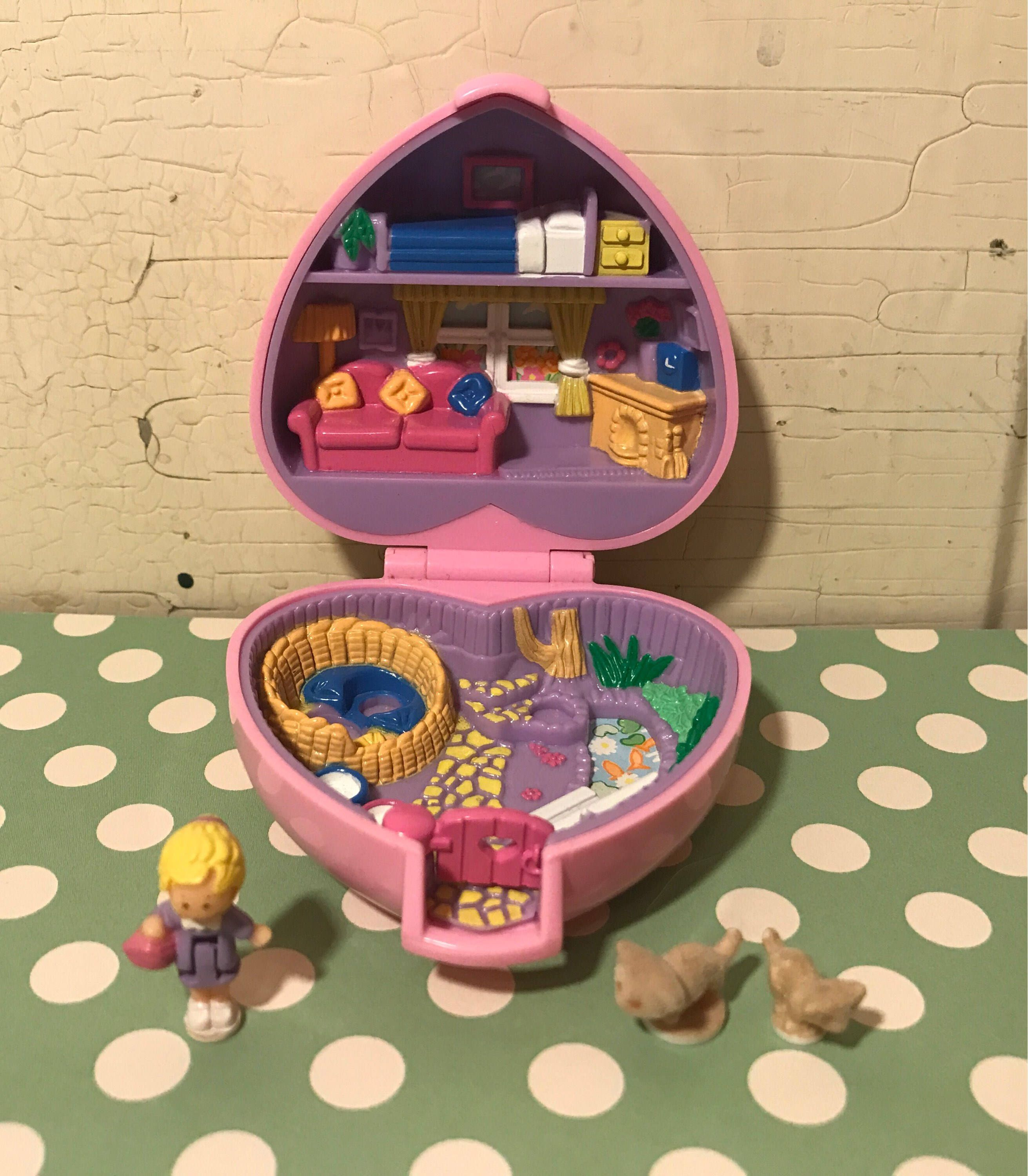 Vintage Polly Pocket Pink Compact Kozy Kitten Pet Parade 1993 Bluebird Toys Pet Parade Polly Pocket Pink