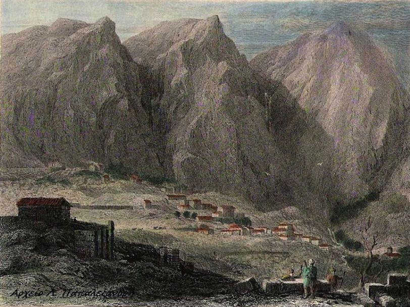 Delphi, Οι Δελφοί σε χαρακτικό της Συλλογής Λουκά Α. Παπαλεξανδρή.