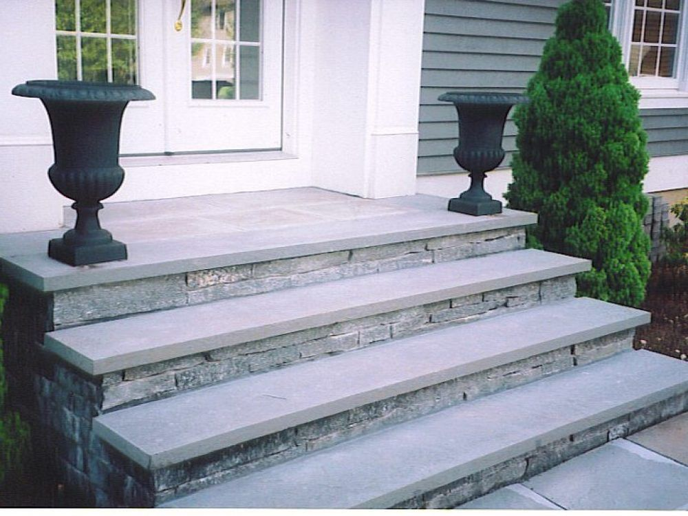Concrete Stairs Covered In Stone Veneer With Bluestone Treads