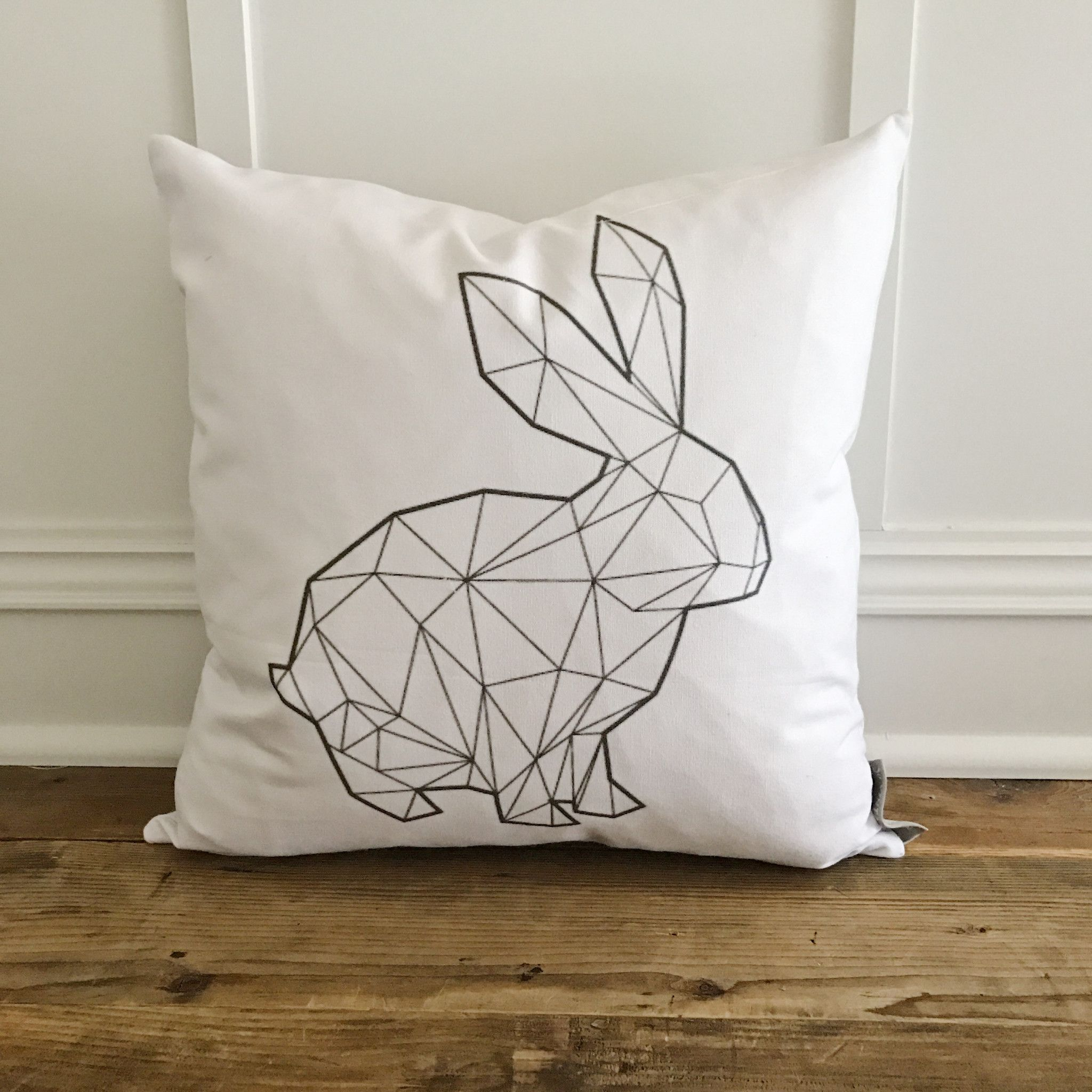 Geometric Bunny Pillow Cover