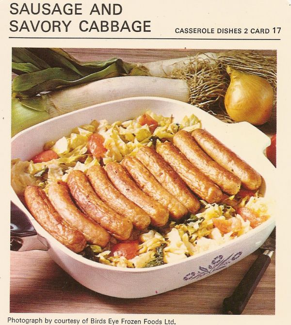 Sausage and savory cabbage casserole dishes vintage recipe card sausage and savory cabbage casserole dishes vintage recipe card birds eye frozen foods forumfinder Images