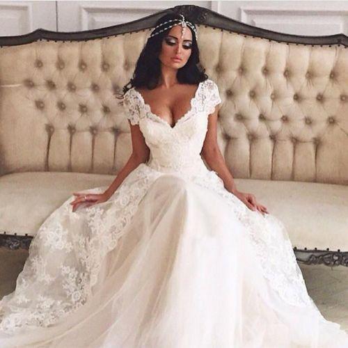 neu-weiss-Elfenbein-Spitze-Hochzeitskleid-Abendkleid-Ballkleid ...