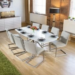 4c837acabb Modern White Glass Extending Dining Table set + 8 Ice Grey Chairs ...
