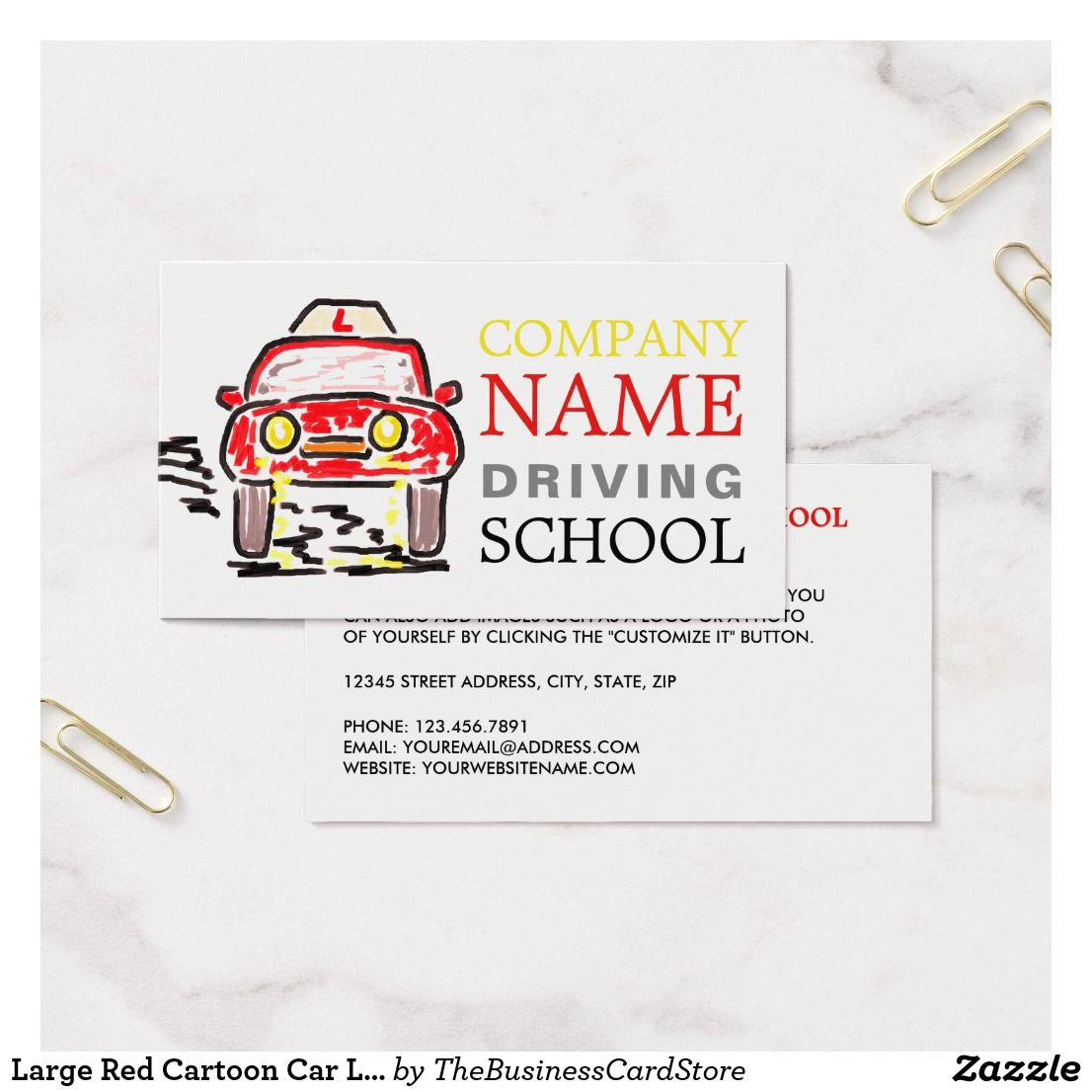 Large Red Cartoon Car Logo, Driving Instructor Business Card ...