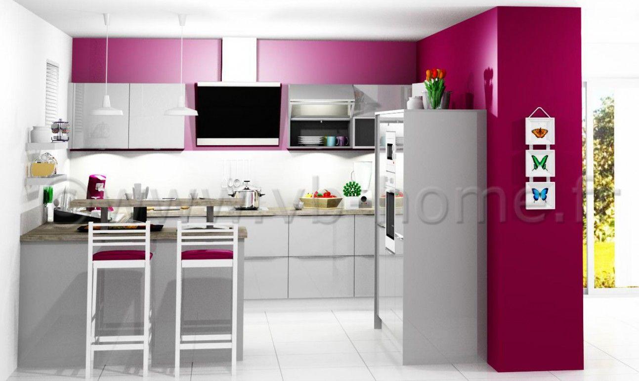 Petite cuisine ouverte tr s bien quip e fa ades stratifi es gris brillant poign es profil alu - Plan petite cuisine ouverte ...