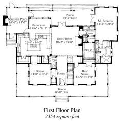 First Floor Plan of Country   Historic   House Plan 73854