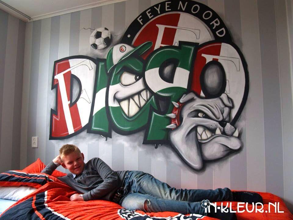 Muurschildering feyenoord voetbal graffiti jongenskamer kidsroom