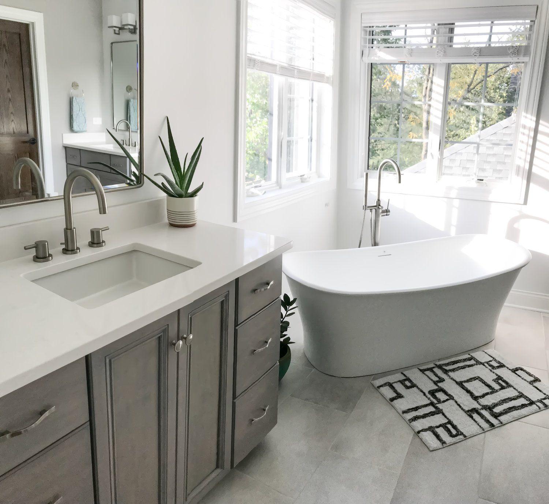 Modern Master Bathroom Ideas First Thyme Mom Modern Master Bathroom Free Standing Bath Tub Modern Bathtub