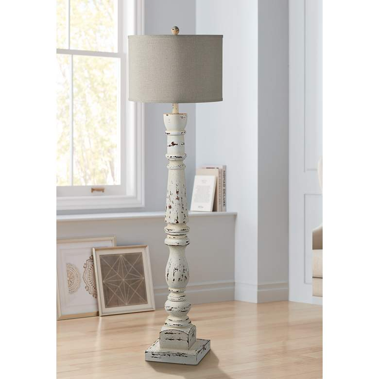 Forty West Anna Cottage White Column Floor Lamp 69Y01