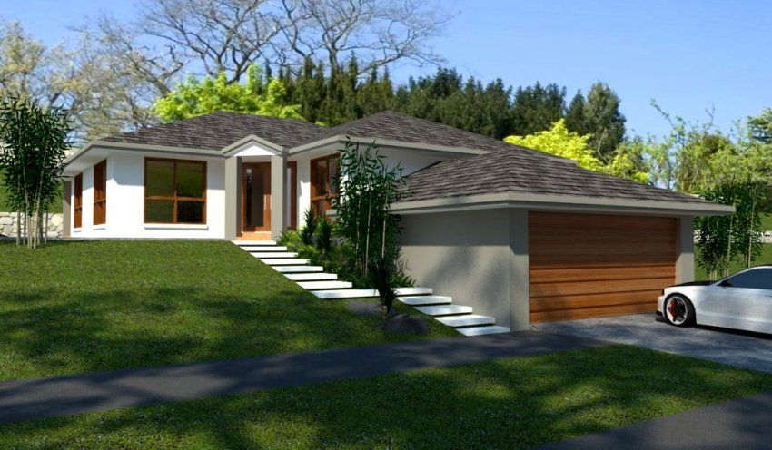 3 bedroom house floor plan sloped site country house for Building a garage on a sloped lot
