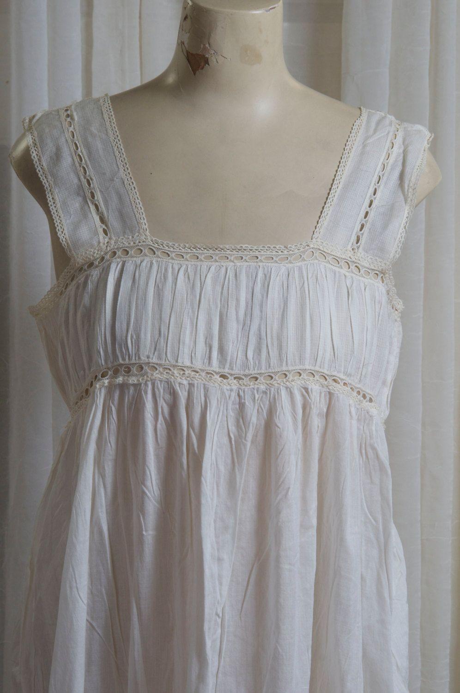 Feminine, gauzy cotton, pullover nightgown. Edwardian, Victorian era. Very good shape by TessiesOldOddities on Etsy