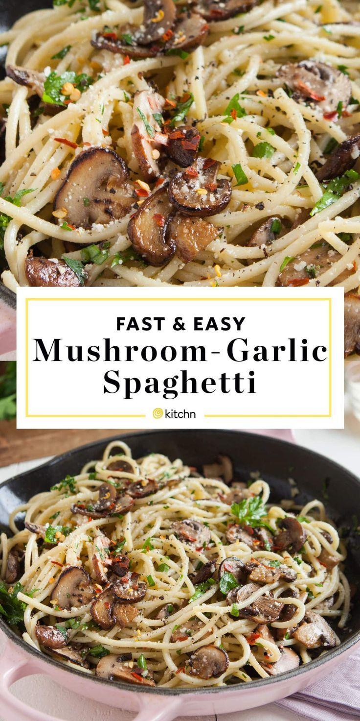Pilz-Knoblauch-Spaghetti-Abendessen - New Ideas #easydinnerrecipes