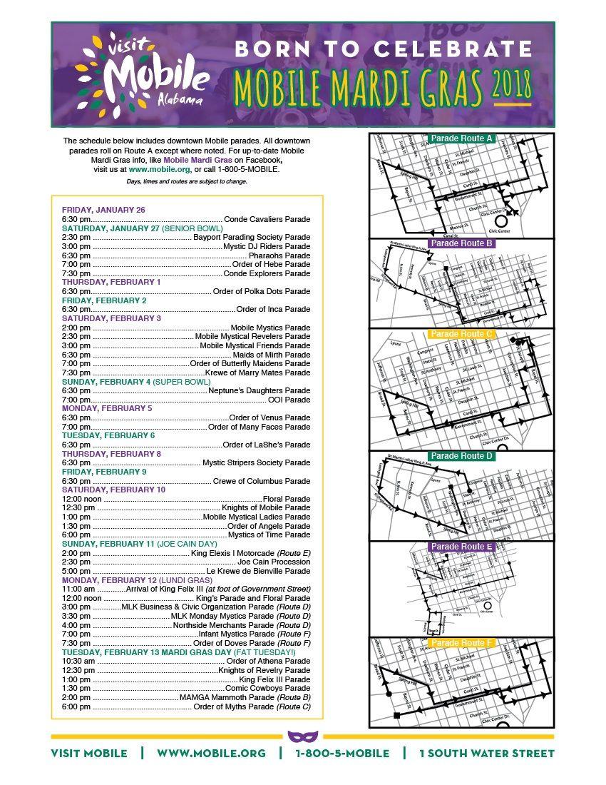 Mardi Gras 2019 Calendar 2018 Mardi Gras Calendar #Mobile #Alabama #MardiGras | Travel the