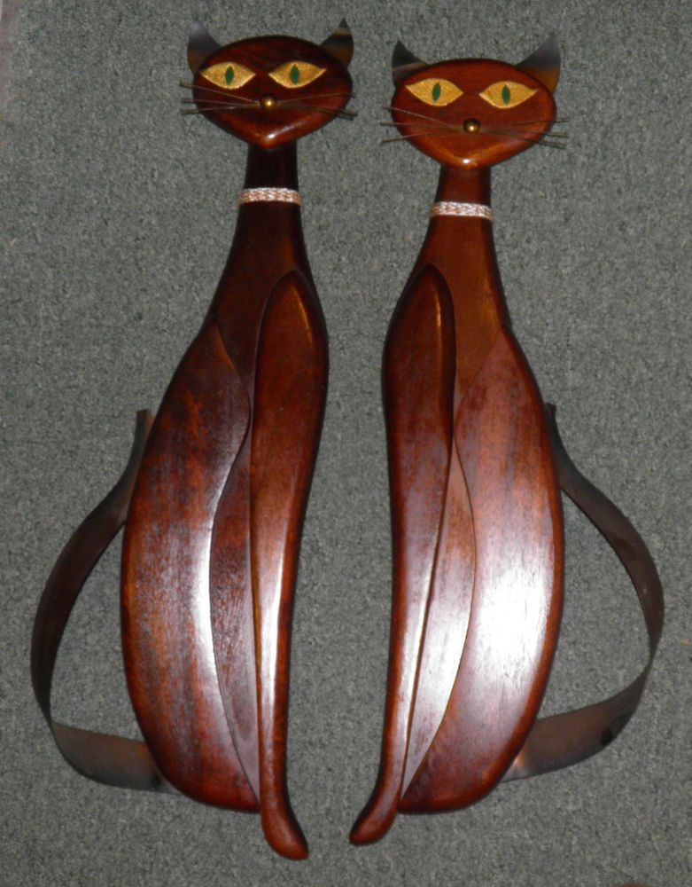Vintage Retro Mid Century 1961 PAIR of MASKETEERS Wall CATS Mahogany ORIG Large