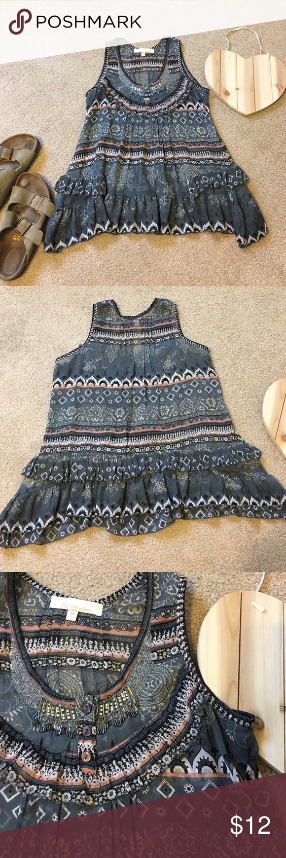 Beautiful beaded tank Ruffles, beads, and beauty! This is even more stunning in person! Size medium but can fit a small as well. Blue, peach, black and white colors. Tops Tank Tops