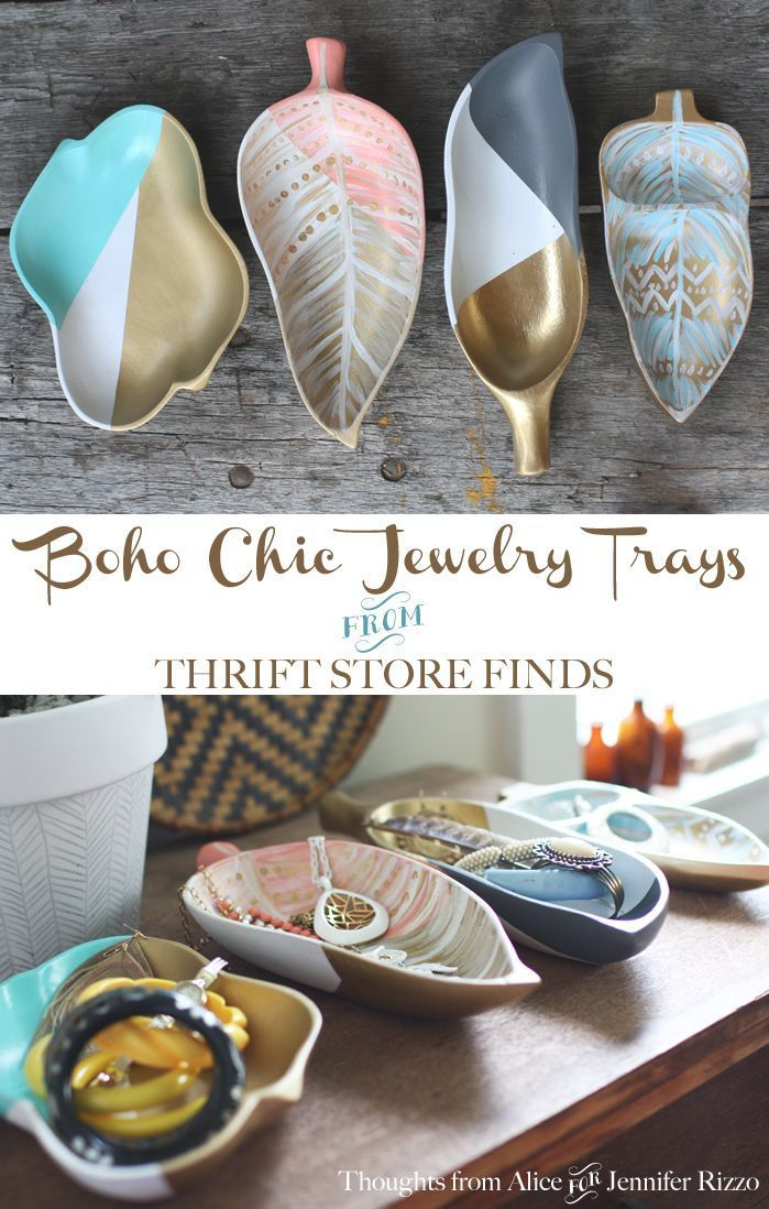 Painting DIY Bohemian Jewelry Storage Trays with Upcycled Thrift Store Finds - Jennifer Rizzo