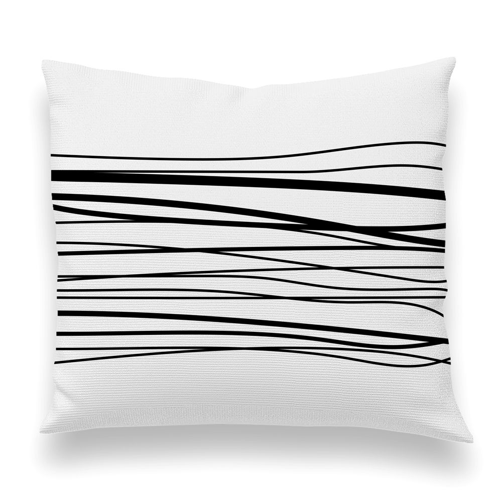 Wavy lines pillow cover white and black iseydesign