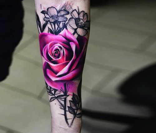567482b04 Let's start this list with a classic double rose tattoo on the shoulder.  Description from tattoo.com. I searched for this on bing.com/images