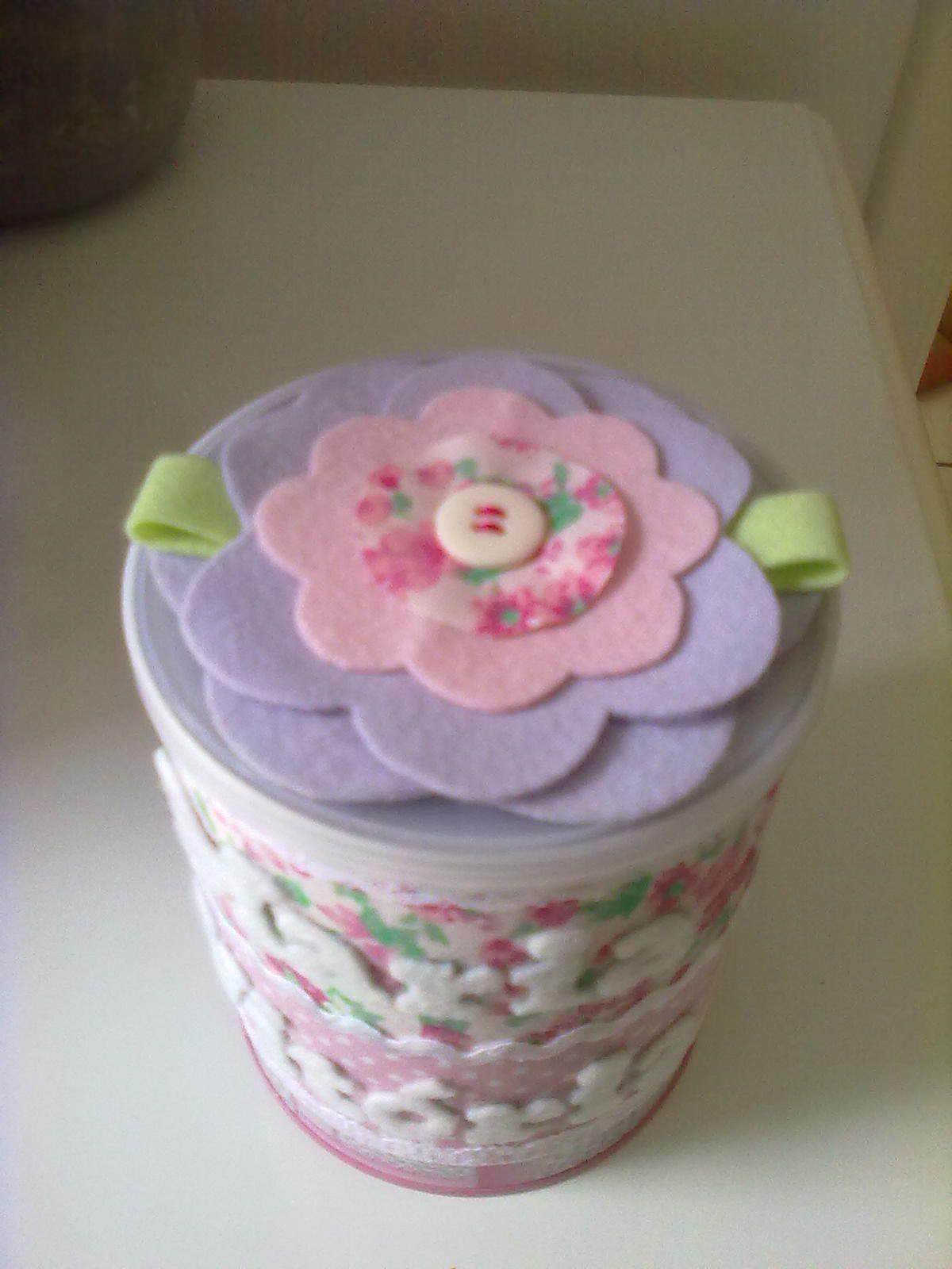 Adesivo Mandala Grande ~ Lata de leite decorada com tecido e feltro Artesanato Pinterest Latas de leite, Tecido e