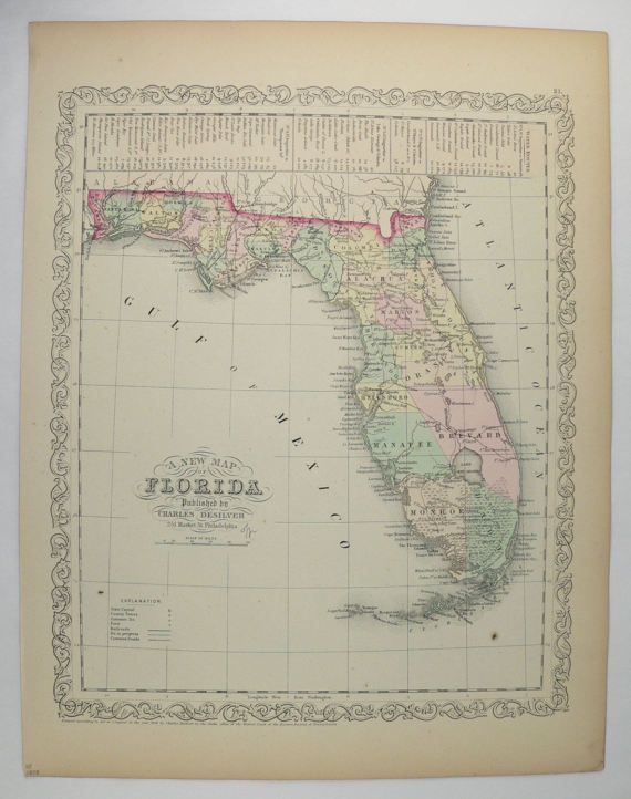 Us 19 Florida Map.Original Vintage Florida Map 1858 Mitchell Desilver Map Of Florida