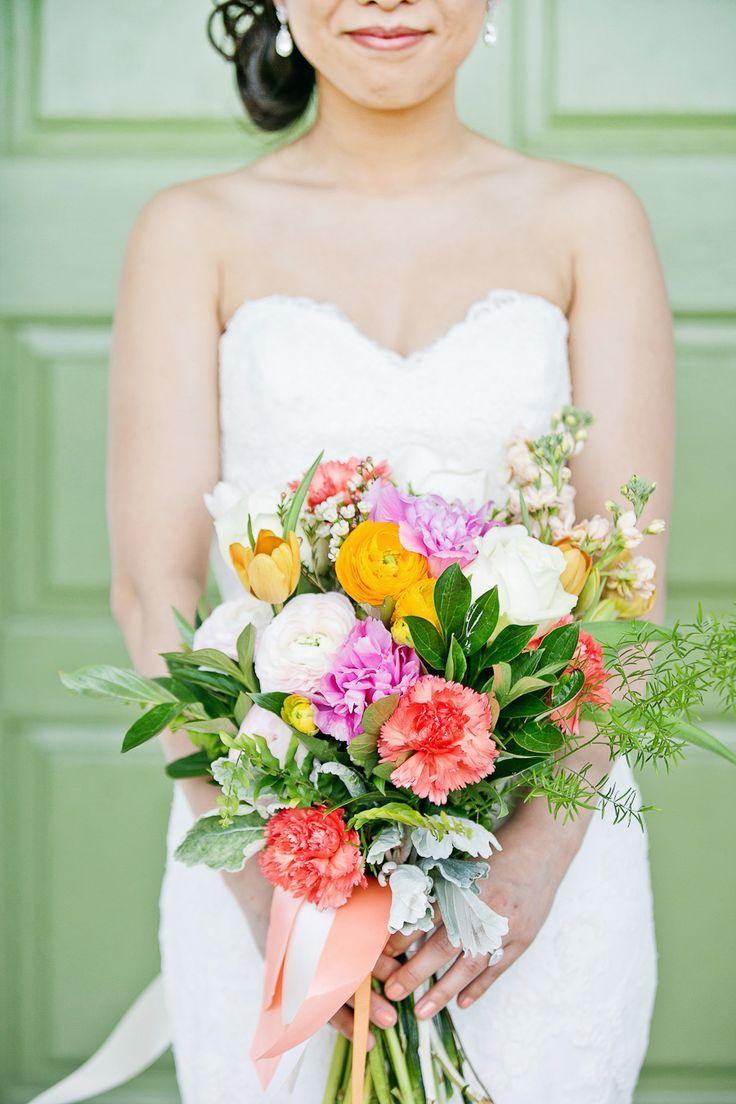 Wedding bouquets inspiration colorful springtime bridal bouquet