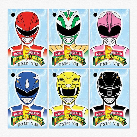 Power rangers birthday party thank you favor tags red green pink blue yellow