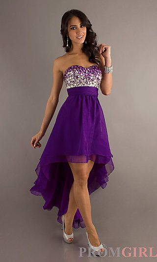 fba479c6643 Strapless Sweetheart High Low Dress at PromGirl.com
