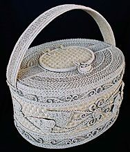 knotted basket by Russian macrame artist - he creates intricate macrame icons too