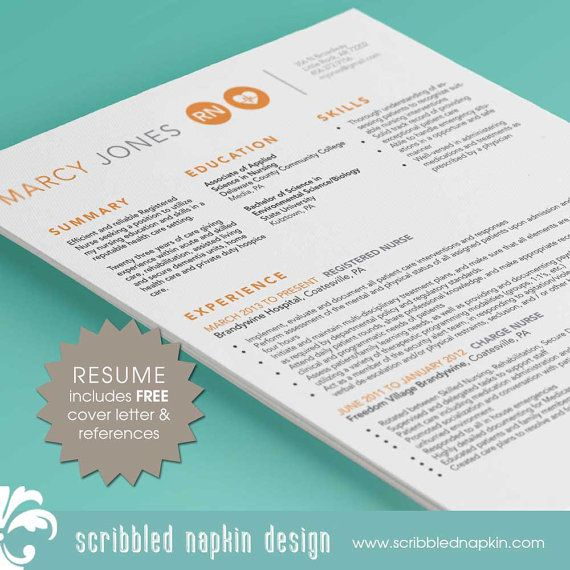 Nurse Resume Template,Includes Extra Page, Microsoft Office and - indesign resume templates