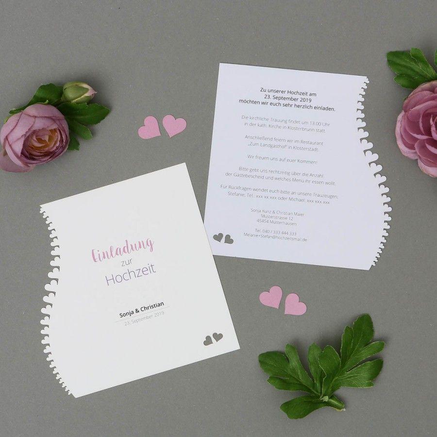 Adomo | Einladung   Postkarte Quadratisch Für Hochzeit Mit Lasercut Herzen Online  Gestalten Und Drucken Lassen