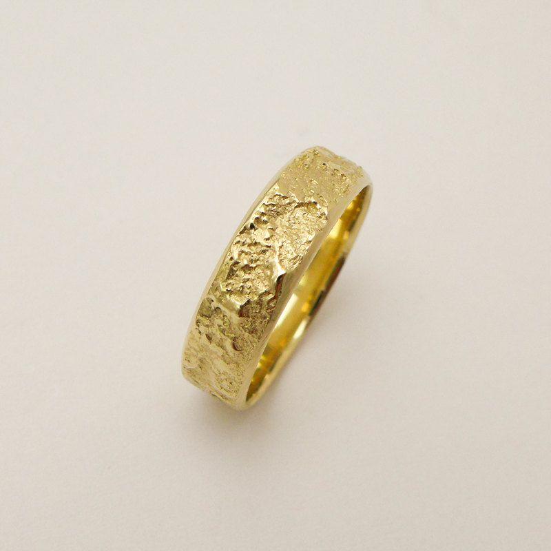 Wide wedding band Wedding ring men 14 karat gold ring Tree bark