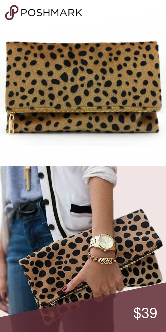 Foldover Leopard Clutch - Fold-over clutch with magnetic