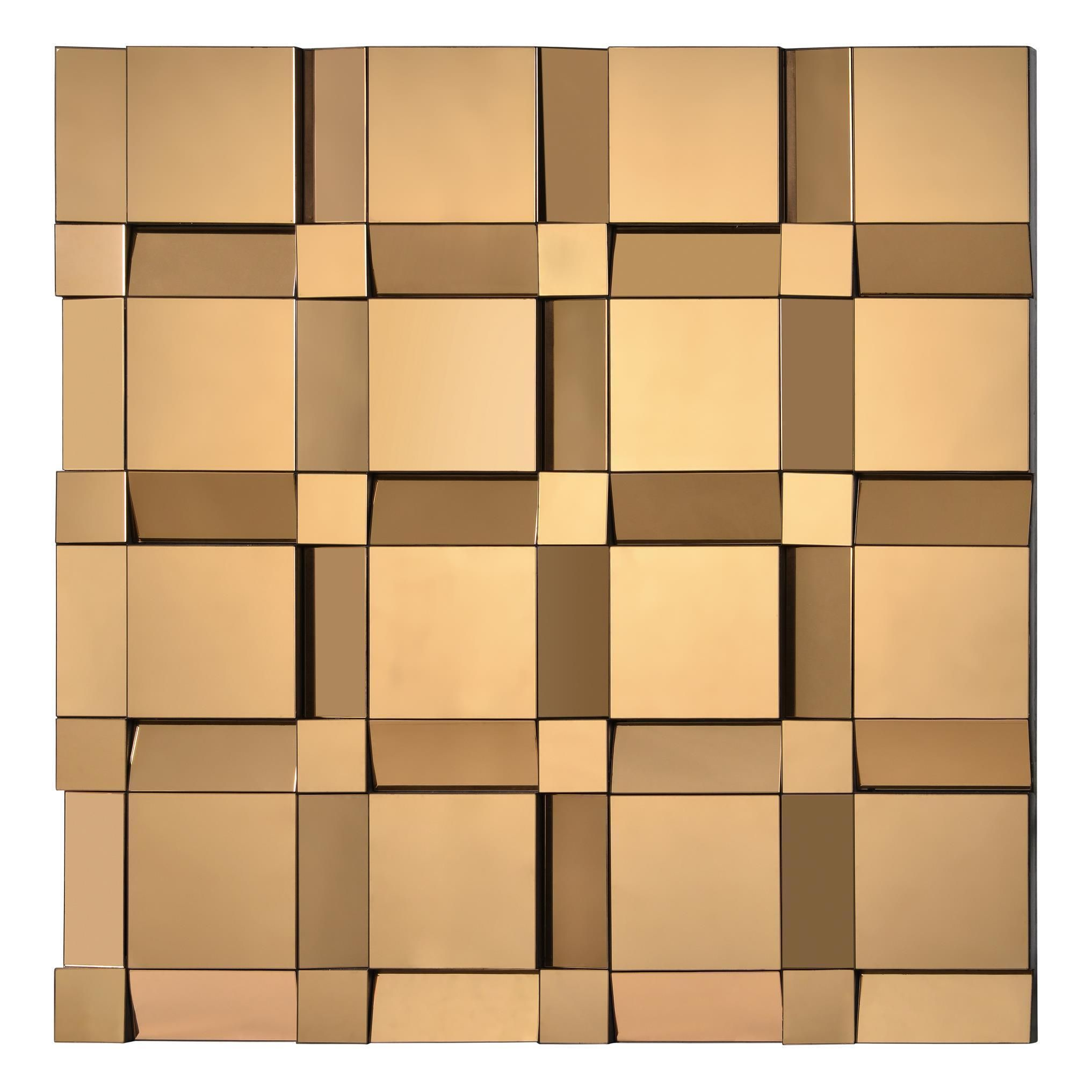 The decadent copper glass of this square wall mirror makes this ...