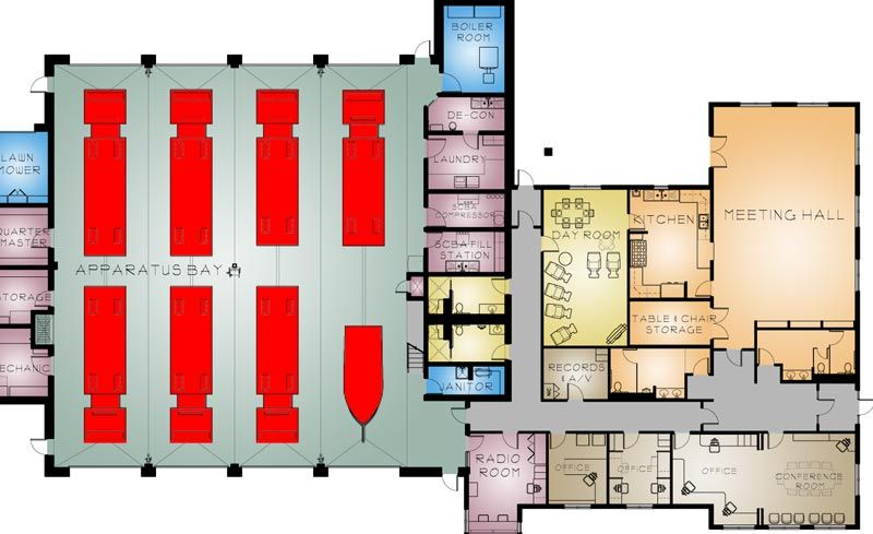 Http Www Mitchell Architects Com Images Large Stafford 1 Color Plan White Jpg Fire Station House Fire Floor Plans