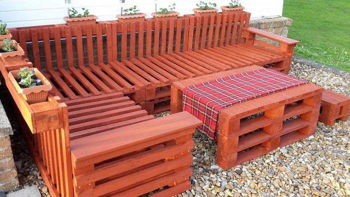 Salon de jardin en palette cher design idée meubles en bois palettes ...