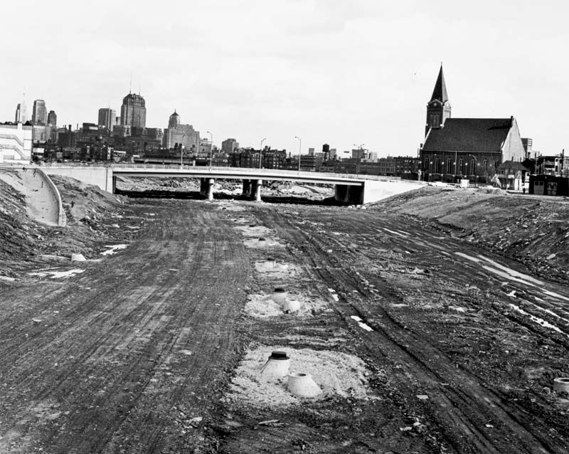 Construction of the Kennedy Expressway in Chicago looking southeast on