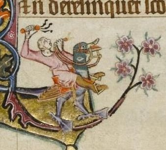 The Macclesfield Psalter, for instance, depicts a man riding a 'hobby duck'