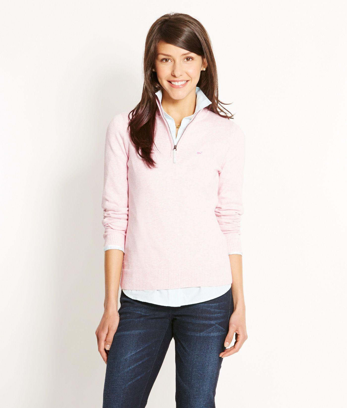 Shop sweaters tipped zip sweater for women vineyard vines