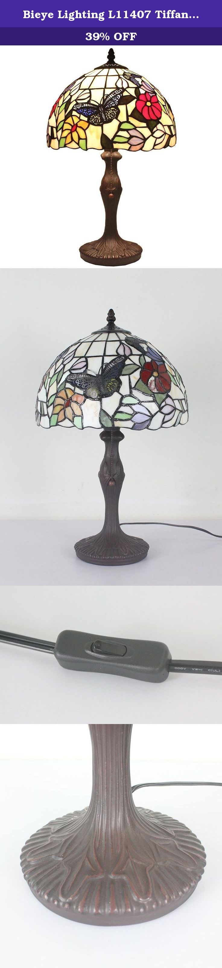 Bieye lighting l11407 tiffany style stained glass butterfly table bieye lighting tiffany style stained glass butterfly table lamp with upgraded aluminum alloy bulb holder and zinc lamp base 12 inches handmade lamp shade geotapseo Choice Image