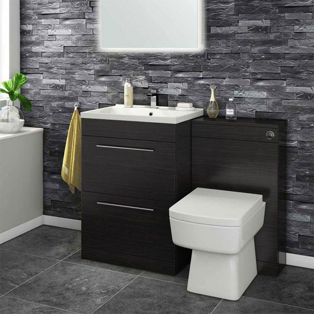 Vellamo Aspire 1100mm 2 Drawer Combination Basin Toilet Unit Black Ash Vanity Units Bathroom Design Inspiration Basin