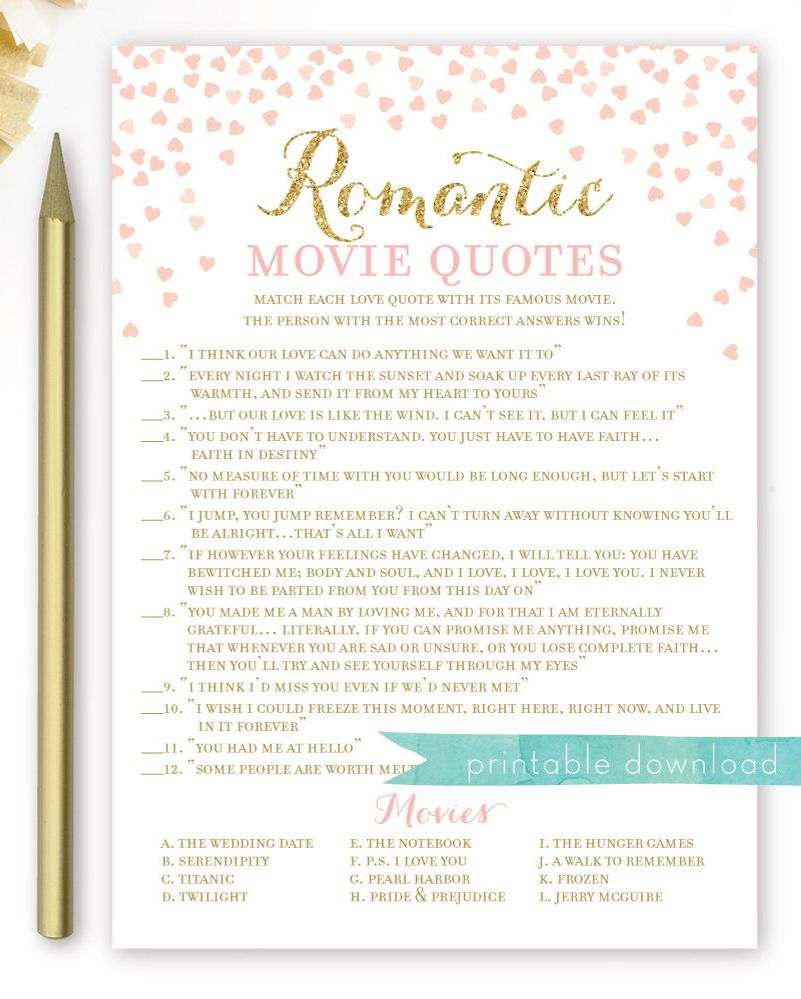 Romantic Movie Quotes Bridal Shower Game Match The Movie Love