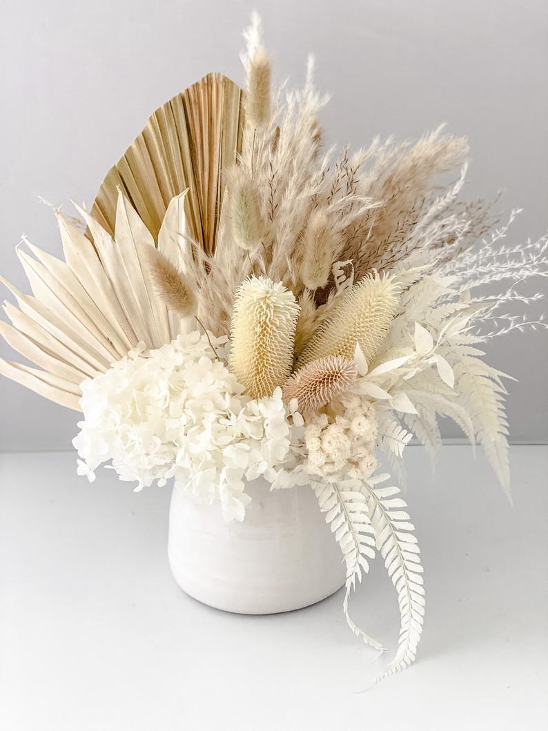 Dried Floral Arrangement with Pampas Grass + Palms   Dried flower  arrangements, Dried floral, Flower vase arrangements
