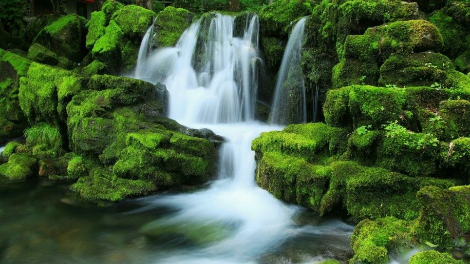 Nature Green Hd Wallpaper Cascading Waterfalls Rocks Covered With Moss Waterfall Wallpaper Waterfall Cool Pictures Of Nature