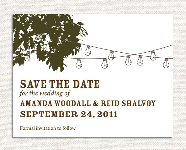 Print Your Own Cafe Lights Save The Date Wedding Invites, DIY Wedding Invitations. $25.00, via Etsy.