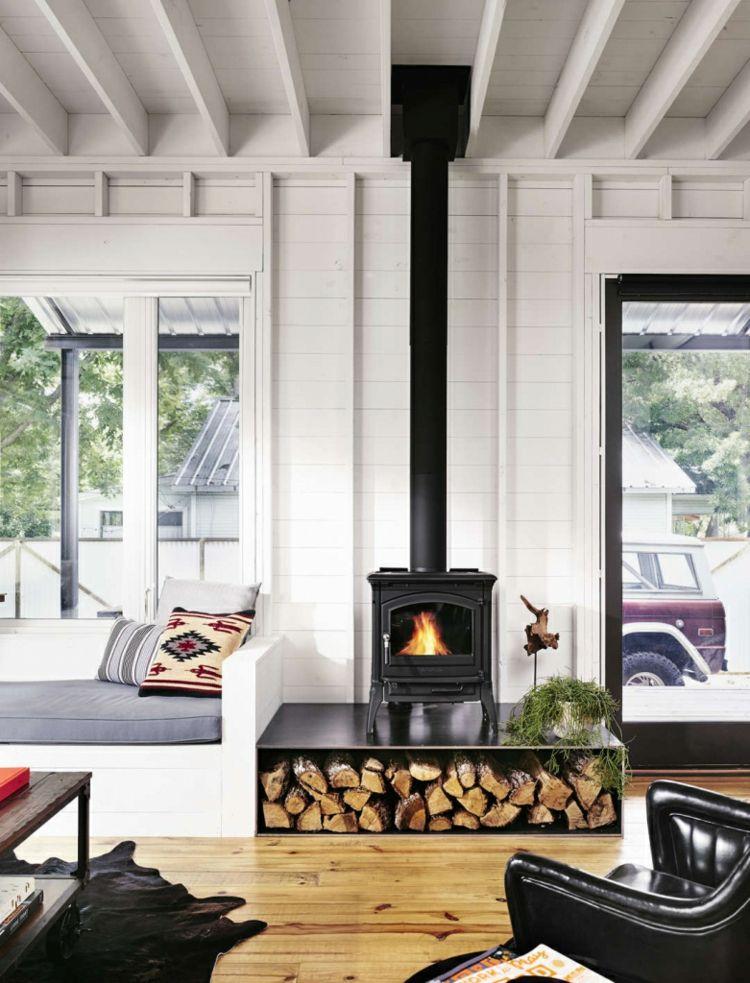 wohnzimmer brennholz lagern ideen zur aufbewahrung fire. Black Bedroom Furniture Sets. Home Design Ideas